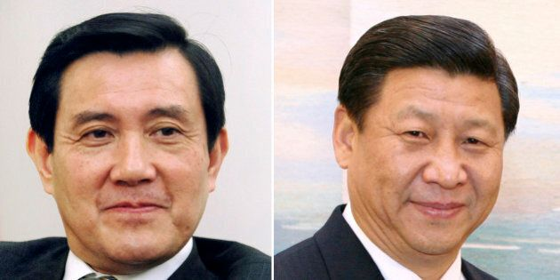 FILE - This combination of file photos show Taiwan's President Ma Ying-jeou, left, and China's President...