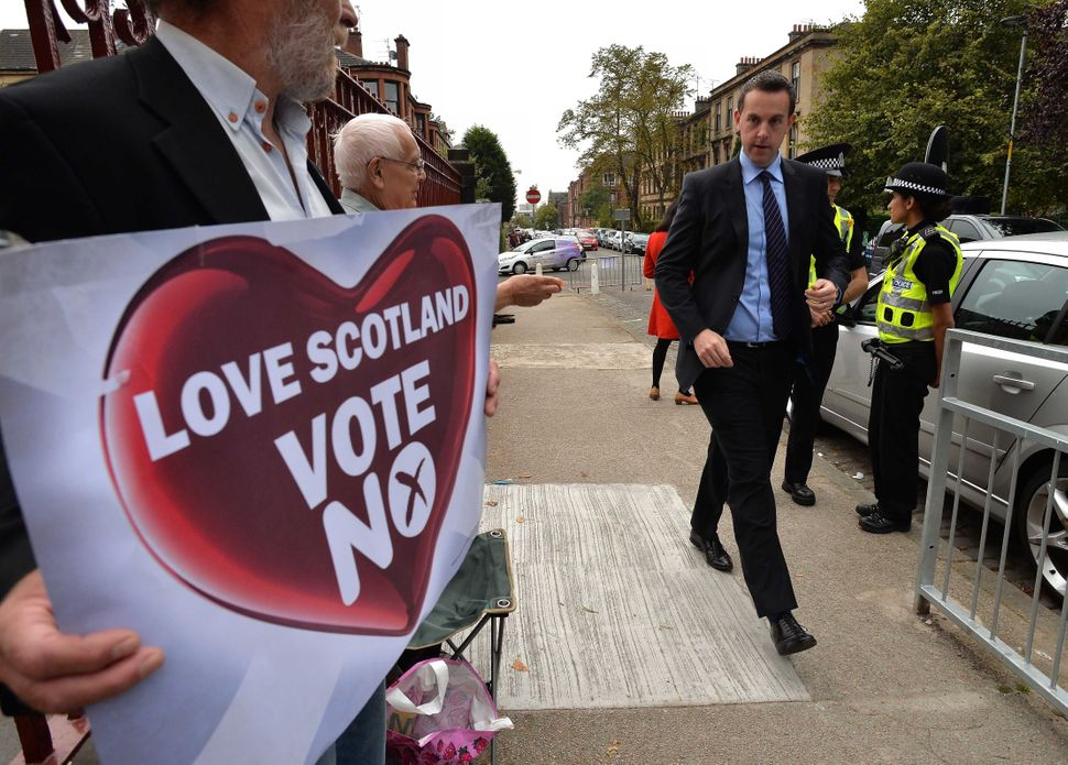 Voters at Notre Dame Primary School polling station in Glasgow, Scotland on Sept. 18, 2014.