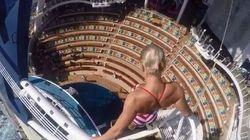 Il tuffo della campionessa da 16 metri su una nave da crociera in movimento toglie il