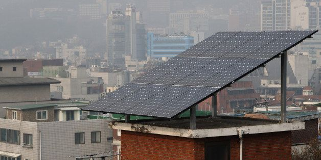 Solar panels sit on the rooftop of a residential building in the Ewha-dong area of Seoul, South Korea, on Friday, Jan. 17, 20