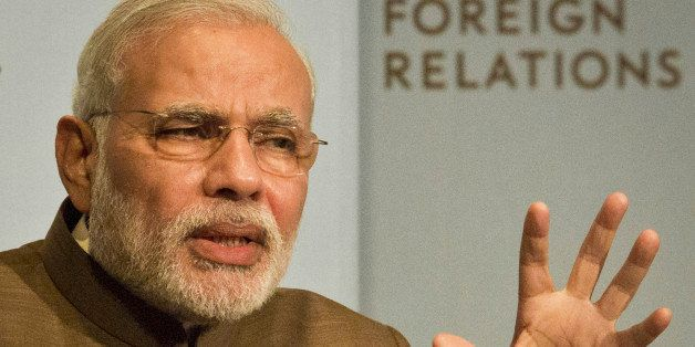 India's Prime Minister Narendra Modi speaks during a keynote speech at the Council on Foreign Relations, Monday, Sept. 29, 20