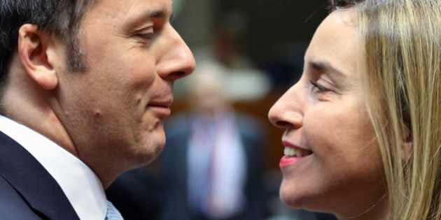 Italy's Prime Minister Matteo Renzi and European Union foreign policy chief Federica Mogherini (R) attend...