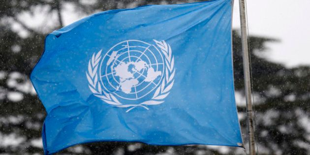 A United Nations flag flies outside the the European headquarters of the United Nations ahead of new...