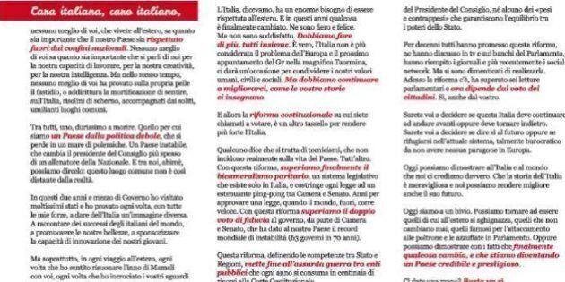 La lettera di Renzi agli italiani all'estero, immoralità pubblica e vizi