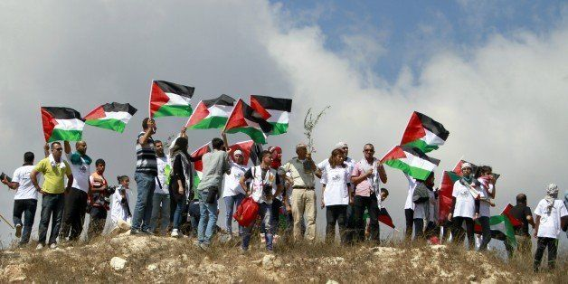 Palestinian protesters wave the national flag during a demonstration against the decision by Israel to expropriate 400 hectar