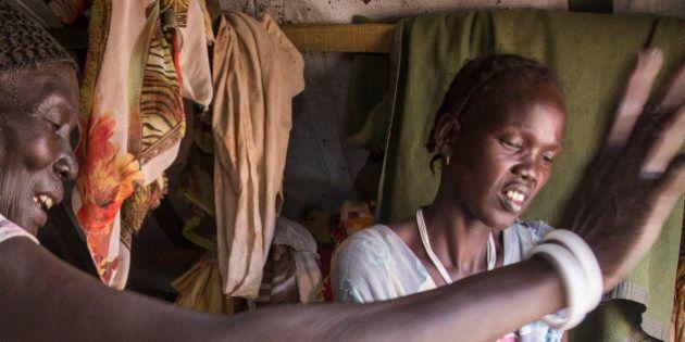South Sudan, Juba, February 2014. IDPâs is South Sudan find a safe shelter at the UN compound in Juba,...