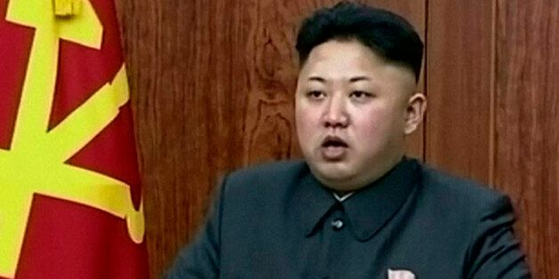 In this image taken from video made available on Wednesday, Jan. 1, 2014,  North Korean leader Kim Jong Un delivers an annual