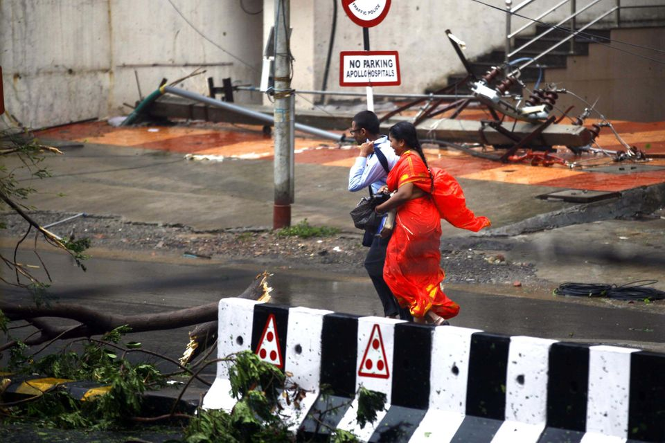 VISAKHAPATNAM, INDIA - OCTOBER 12: Cyclone Hudhud hit India's east coast with monstrous ferocity on Sunday, killing at least