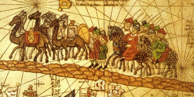 Illustrated map depicting the journey of the Venetian merchant Marco Polo (1254 - 1324) along the silk road to China. (Photo