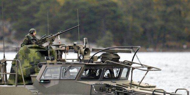 A Swedish Navy fast-attack craft patrols in the the Stockholm Archipelago, Sweden,  on October 18 2014. The Swedish armed for