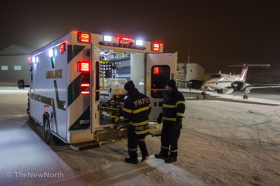 Once we are in Yellowknife, our patients are loaded into Fire Department ambulances where we accompany them to the local hosp