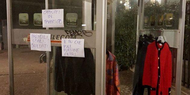 La cabina telefonica diventa un guardaroba per clochard:
