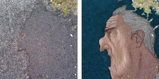 Le buche e l'incuria di Roma diventano arte: il lavoro