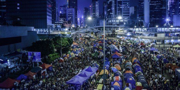 Pro-democracy protester gather at the main protest site in the Admiralty district of Hong Kong on October 24, 2014. Major int