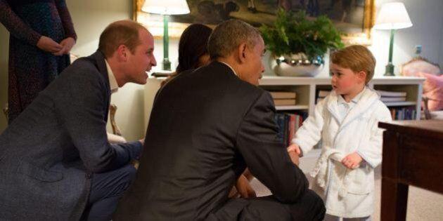 Il piccolo George incontra Obama e Michelle in vestaglia insieme a mamma Kate e papà