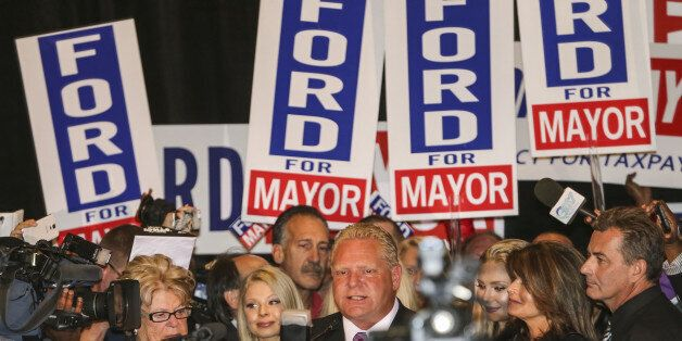 TORONTO, ON- OCTOBER 27  Doug Ford smiles as he thanks  his supporter from the podium surrounded by his family at the Woodbin