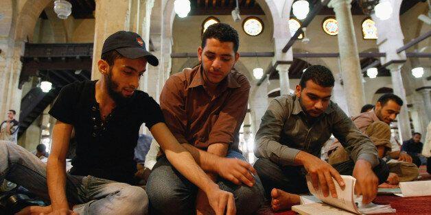 CAIRO, EGYPT - JUNE 02:  Islamic students study in the al Azhar mosque before heading into exams at the associated al Azhar U