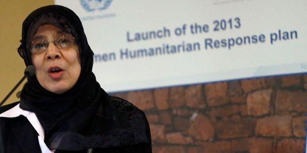 Hooria Mashhour, Yemeni minister of Human Rights, speaks during the presentation of the Yeman 2013 Humanitarian Response Plan