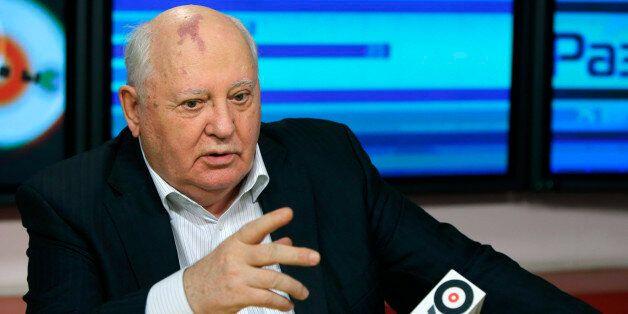 In this photo taken late Monday, Nov. 12, 2012, former President of the Soviet Union Mikhail Gorbachev speaks to journalists