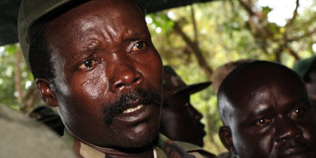 A picture taken on November 12, 2006 of then leader of the Lord's Resistance Army (LRA) Joseph Kony answering journalists' qu