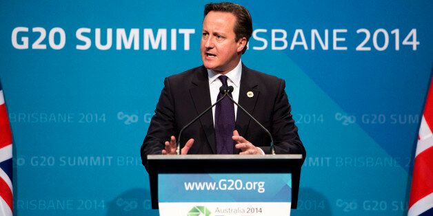 David Cameron, U.K. prime minister, speaks during a news conference at the Group of 20 (G-20) summit in Brisbane, Australia,