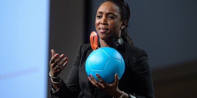 Uncharted Play founder and CEO Jessica Matthews shows her company's invention, Soccket, a soccer ball that generates electric