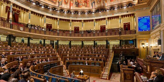 A view of the Spanish Parliament after a vote to recognize a Palestinian state, in Madrid, Spain, Tuesday, Nov. 18, 2014.  Sp