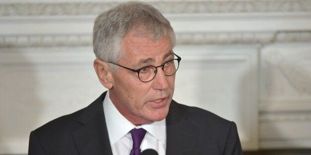 US Defense Secretary Chuck Hagel speaks during a press conference where President Barack Obama announced Hagel's departure at