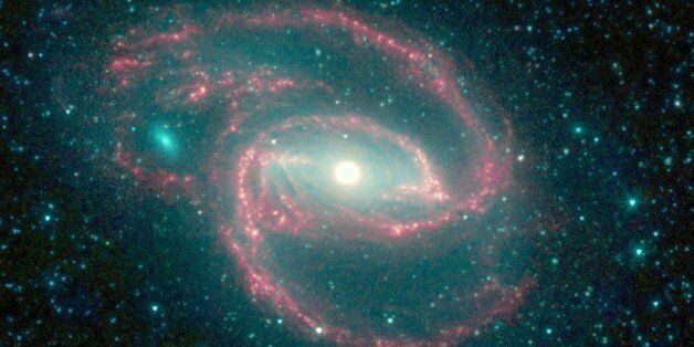 The galaxy, called NGC 1097, is located 50 million light-years away. It is spiral-shaped like our Milky Way, with long, spind