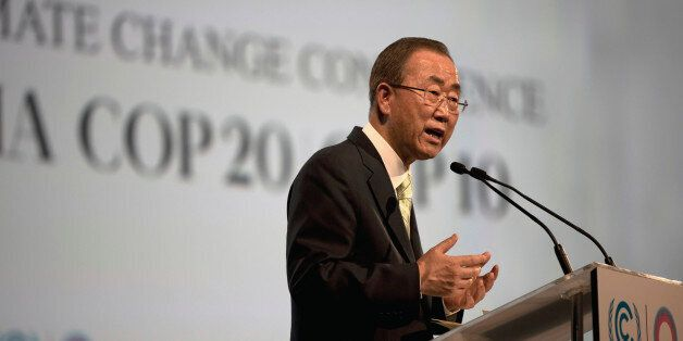 UN Secretary General Ban Ki-moon delivers his speech during the UN Climate Change Conference in Lima, Peru, Wednesday, Dec. 1