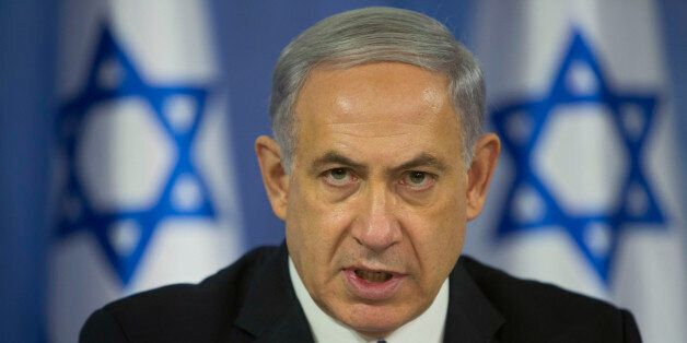 Israeli Prime Minister Benjamin Netanyahu speaks to the media during a press conference at the defense ministry in Tel Aviv,