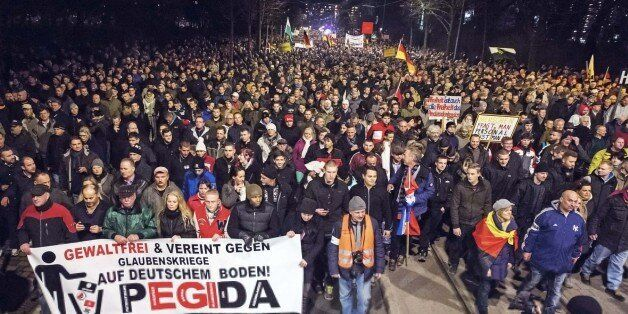 Thousands of participants of a rally called 'Patriotic Europeans against the Islamization of the West' (PEGIDA) gather in Dre