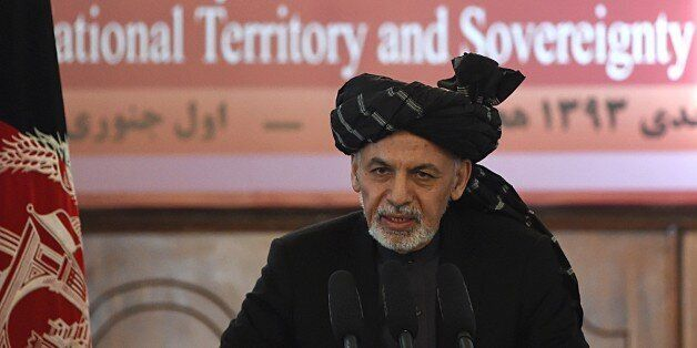 Afghan President Ashraf Ghani addresses an event at the Presidential palace in Kabul on January 1, 2015.   Afghan President A