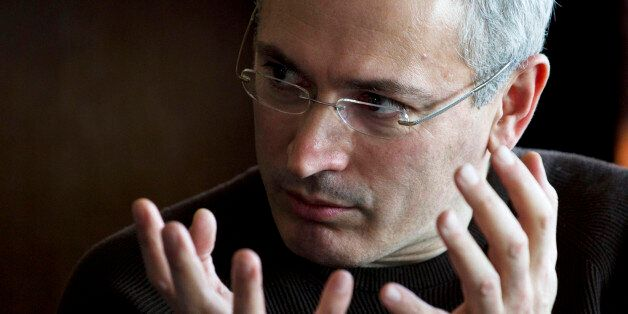 Former imprisoned Russian tycoon Mikhail Khodorkovsky speaks to journalists during a roundtable at a hotel in Kiev, Ukraine,