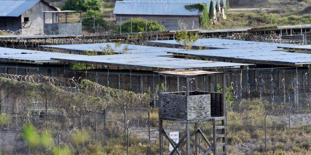 This photo made during an escorted visit and reviewed by the US military, shows the fenced enclosures at the abandoned 'Camp