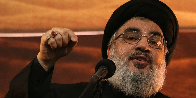 Hezbollah leader Sheik Hassan Nasrallah addresses supporters ahead of the Shiite Ashura commemorations, in the southern subur