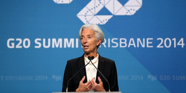 Managing Director of the IMF Madame Christine Lagarde addresses a press conference at the conclusion of the G-20 summit in Br