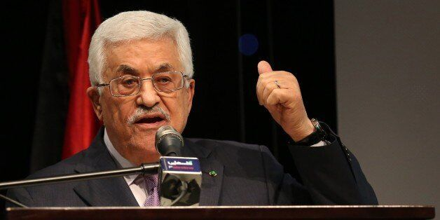 Palestinian President Mahmud Abbas gives a speech in the West Bank city of Ramallah on January 4, 2015. Abbas spoke about the