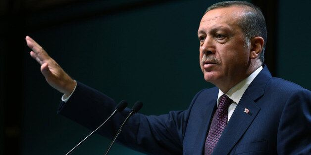 ANKARA, TURKEY - JANUARY 16: Turkish President Recep Tayyip Erdogan speaks at the presidential palace in Ankara, Turkey, on J
