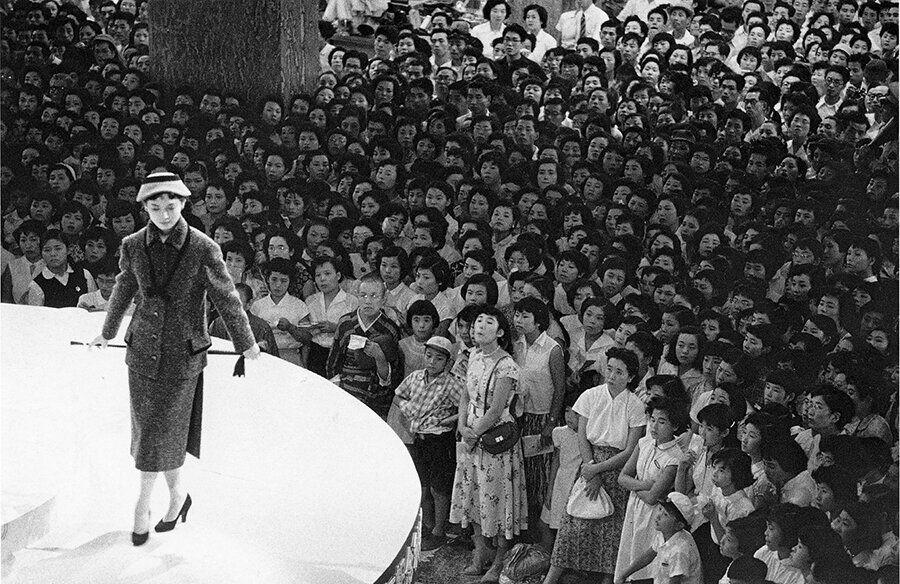 Fashion show at the Mitsukoshi department store. Nihonbashi, Tokyo, 1956.