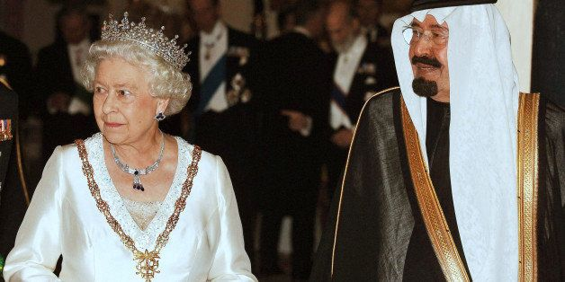 King Abdullah of Saudi Arabia, right, with Queen Elizabeth II, prior a state banquet at Buckingham Palace in London after the