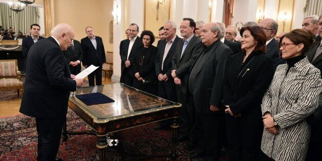 The newly formed government of the Prime Minister Alexis Tsipras take the civil oath in the presence of the Greek President K