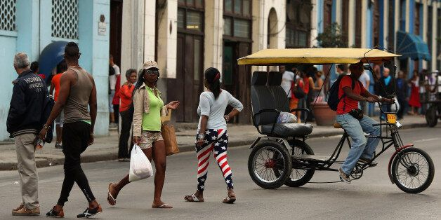 HAVANA, CUBA - JANUARY 26:  The United States flag is appearing in small ways in the clothing worn by Cubans, like the tights