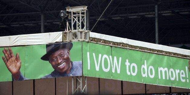 A campaign banner of Nigerian President and presidential candidate of the ruling People's Democratic Party (PDP) Goodluck Jon