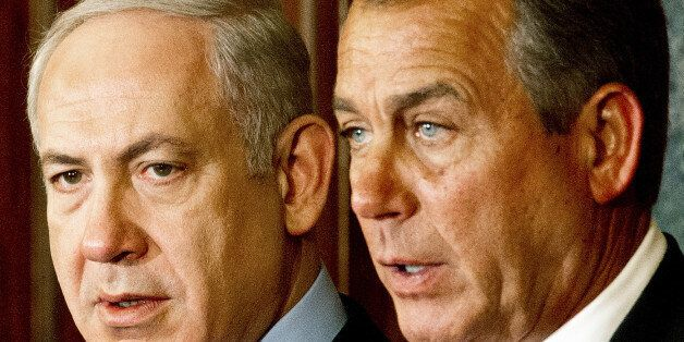 Israeli Prime Minister Benjamin Netanyahu(L) and US House of Representatives Speaker Johh Boehner(R-OH), deliver remarks to the media inside the Rayburn Room at the US Capitol March 6, 2012, in Washington, DC. AFP Photo/Paul J. Richards (Photo credit should read PAUL J. RICHARDS/AFP/Getty Images)