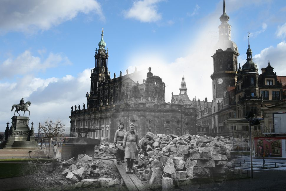 The ruins at Theaterplatz square in 1946 after the Allied firebombing of Feb. 13, 1945, contrast with the square today, pictu
