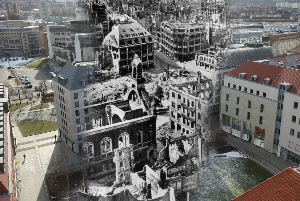 The ruins of the city center, including Prager Strasse, following the Allied bombing in 1945, and the same view on Feb. 7, 20