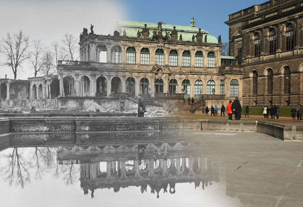 The ruins of the Zwinger art museum in 1946, and on Feb. 12, 2015.