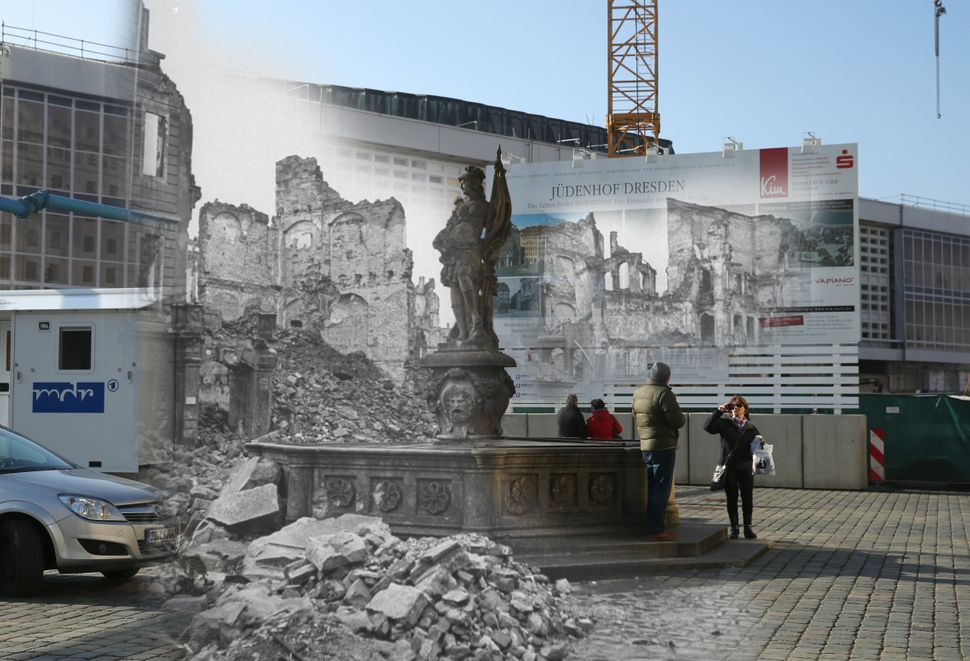 The ruins of buildings around Neumarkt square pictured in 1946, and the same scene on Jan. 22, 2015.