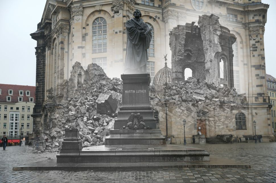 The ruins of the Frauenkirche church and the empty pedestal for a statue of Martin Luther in 1946, shown with an image of the